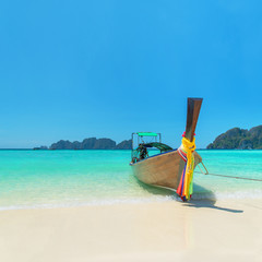 Traditional thai longtail boat at Long Beach, Phi Phi island Tha