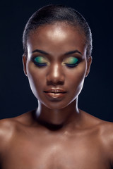 Beauty portrait of handsome ethnic african girl with closed eyes