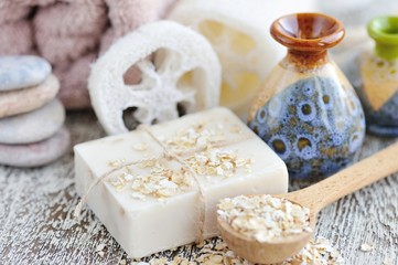 Handmade soap with oatmeal and milk