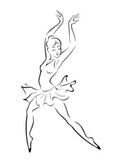 Silhouette of a ballerina . Vector illustration