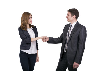 Introduction of male and female business people