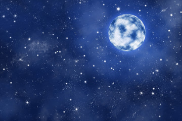 Vollmond an blauen Sternen Himmel mit dichten Wolken