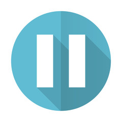 pause blue flat icon