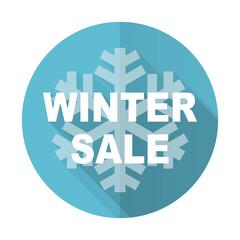 winter sale blue flat icon