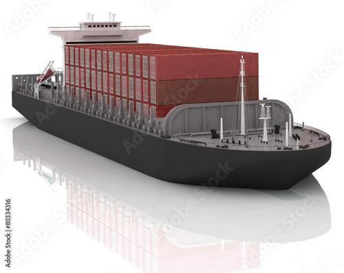 Cargo ship. 3D render Illustration. - 80334316