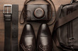 brown shoes, belt, bag and film camera - 80334512
