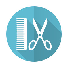 barber blue flat icon