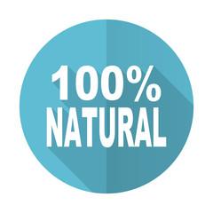 natural blue flat icon 100 percent natural sign