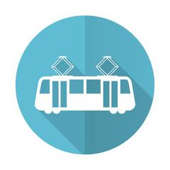 tram blue flat icon public transport sign