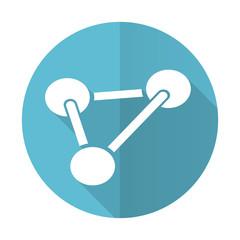 chemistry blue flat icon molecule sign