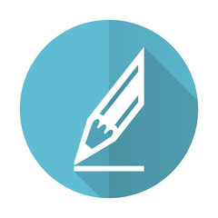 pencil blue flat icon draw sign