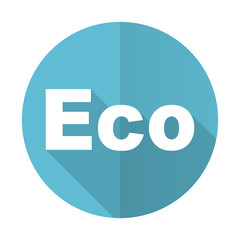 eco blue flat icon ecological sign