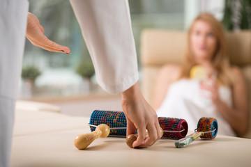 Masseur preparing to do massage
