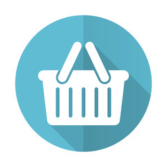 cart blue flat icon shopping cart symbol