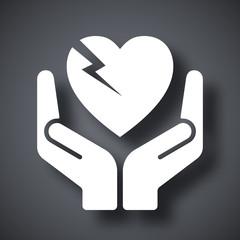 Vector fragile heart symbol