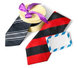 Day. Happy Fathers Day tag with neckties