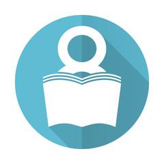 book blue flat icon reading room sign bookshop symbol