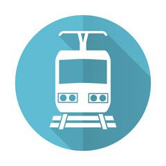 train blue flat icon public transport sign