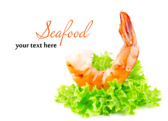 Fresh boiled prawns with lettuce on white background isolated