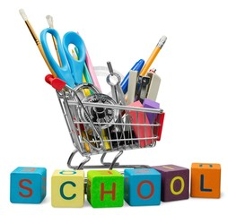 Education. Back to School Shopping Cart with Supplies on White