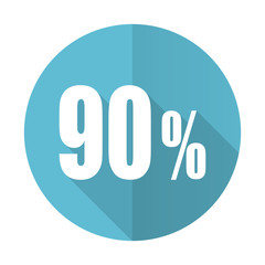 90 percent blue flat icon sale sign