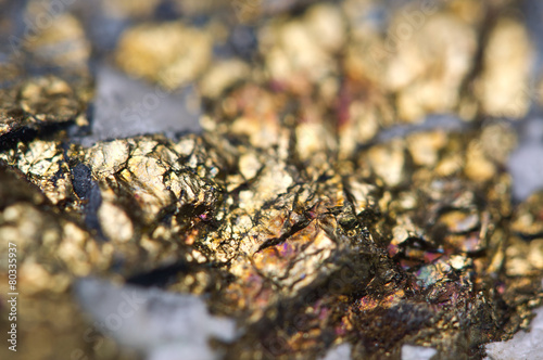 Chalcopyrite Copper iron sulfide mineral Macro. - 80335937