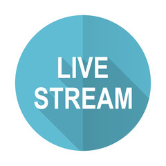 live stream blue flat icon
