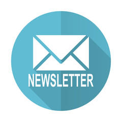 newsletter blue flat icon