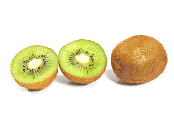 Kiwi fruit and slices isolated on white