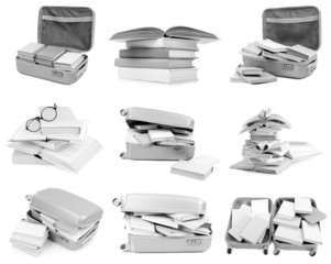 Different compositions with books isolated on white in collage