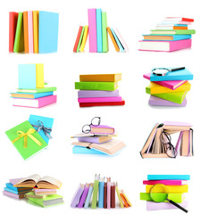 Different compositions with colorful books isolated
