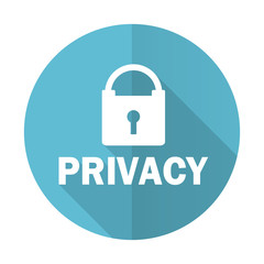 privacy blue flat icon