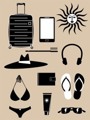 Set of summer holiday icons
