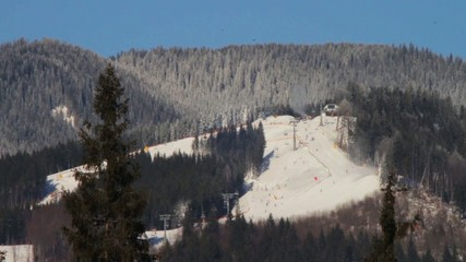 The ski run from a distance