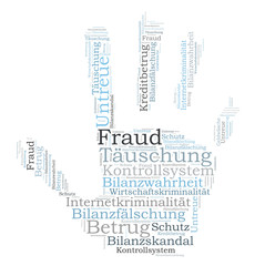 Fraud word cloud shaped as a hand