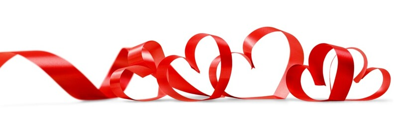 Valentine. Ribbons shaped as hearts on white, valentines day