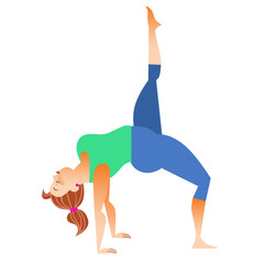 Normal a little fat woman doing yoga