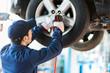 Leinwanddruck Bild - Mechanician changing car wheel in auto repair shop