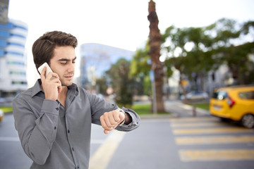 Young businessman talking on mobile phone on street