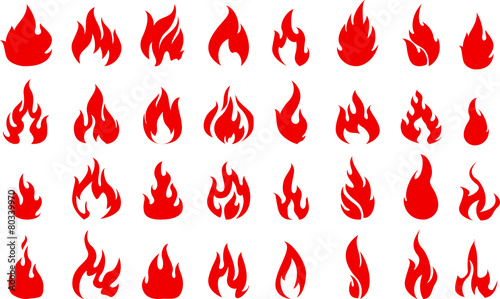 Fire icons set for you design - 80339970