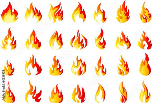 Fire icons set for you design - 80339975