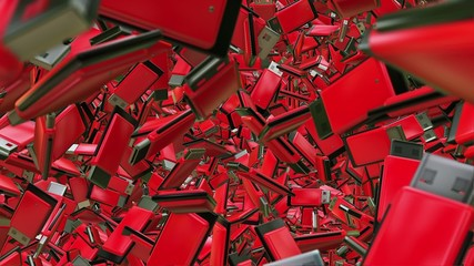 Abstract Usb flash drives in red