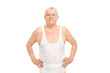 Senior smiling man in underwear posing