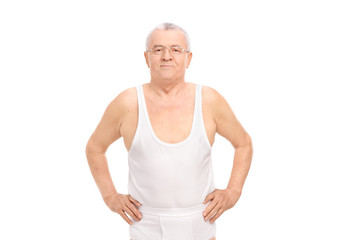 Senior smiling man in underwear posing
