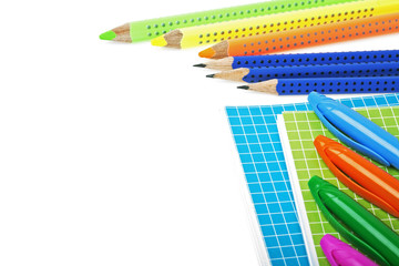 School and office supplies on a white background