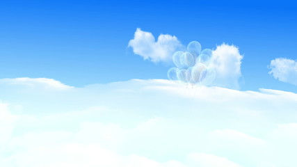 Balloons flying over the white clouds and blue sky