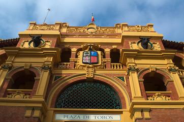 detail of plaza del toros in spanish city zaragoza.
