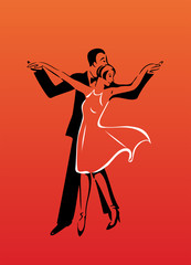 Dancing couple silhouettes on red