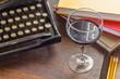 Vintage Typewriter Glass of Wine - 80342381