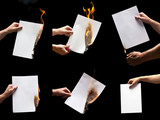 Man hand holding lighter and white burning papers with space for